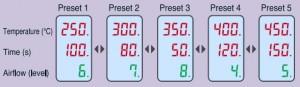 FR-810 hot air system presets